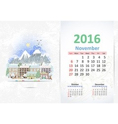 Cute sweet cityscape calendar for 2016 November vector image