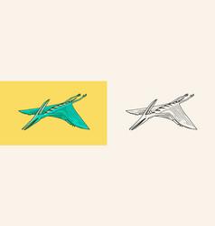 Dinosaur pterosaur skeletons fossils winged vector