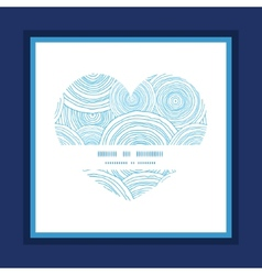 Doodle circle water texture heart symbol frame vector