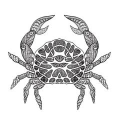 Doodle sketch crab black line vector