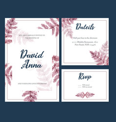 Dried floral wedding card design with fern leaves vector