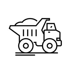 dump truck line icon concept sign outline vector image