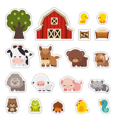 Farm animals stickers vector