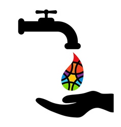 Faucet hand and rainbow colored drop on white vector image