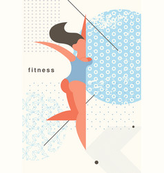 Fitness young stylized girl healthy lifestyle vector