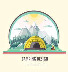Flat design retro landscape and camping vector
