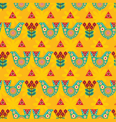 Folk seamless pattern in scandinavian style vector