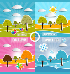 Four Seasons Landscape Backgrounds vector image