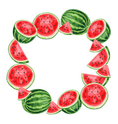 frame with watermelons and slices vector image