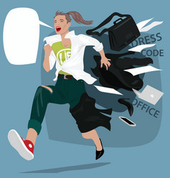 Girl runs changing clothes on the go vector
