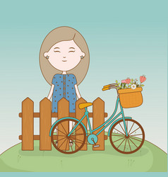 Girl standing behind fence with bicycle and vector