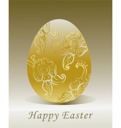 golden Easter egg with floral vector image vector image