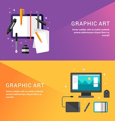 Graphic Art Concept Set of Flat Style for Web vector image