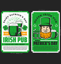 Green irish pub beer mug st patrick day holiday vector