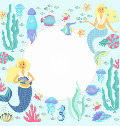 Greeting banner on the marine theme cute mermaids vector