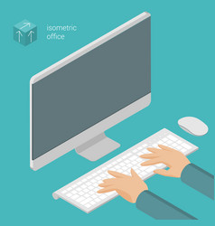 hands on computer keyboard vector image