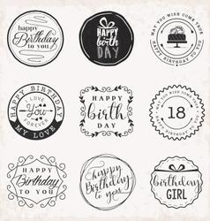 Happy Birthday Greeting Card Design Elements vector image