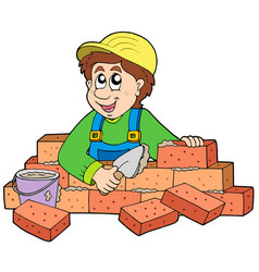happy bricklayer vector image