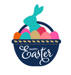 happy easter bunnies basket with eggs and bunny vector image