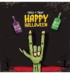 Happy halloween card with zombie hand vector