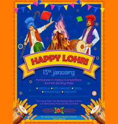 Happy lohri holiday background for punjabi vector