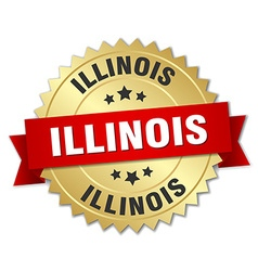 Illinois round golden badge with red ribbon vector image