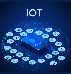 Iot isometric concept digital global ecosystem vector