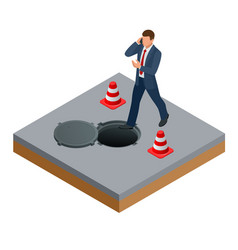 Isometric man talking on the phone and walks into vector