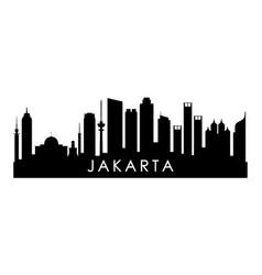 Jakarta skyline silhouette black jakarta city vector