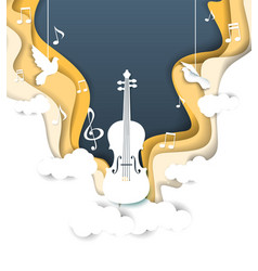 Layered paper cut style music background vector