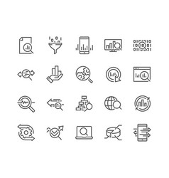 Line data analysis icons vector
