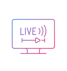 Live tv gradient linear icon vector