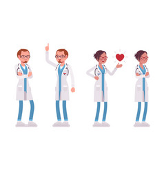 male and female doctor different emotions vector image