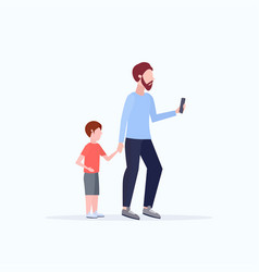 Man using cellphone while walking with little vector