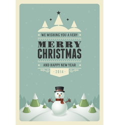 Merry Christmas postcard with snowman background vector image