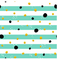 mint gold striped seamless pattern vector image