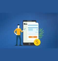 mobile payment online receipt with smartphone vector image