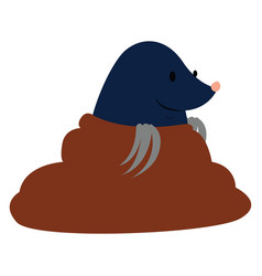 Mole in hole on white background vector