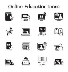 Online education icon set graphic design vector