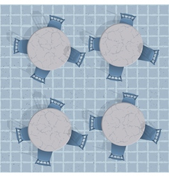 Overhead view of a cafe table with chairs vector