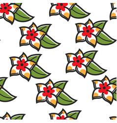 plumeria hawaiian symbol flower seamless pattern vector image