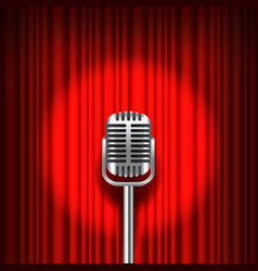 Red curtain and stage with microphone vector image