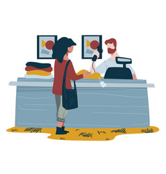 Sales clerk at shopping counter and woman buying vector