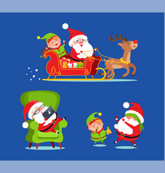 Santa claus riding deer sledge with elf icon vector