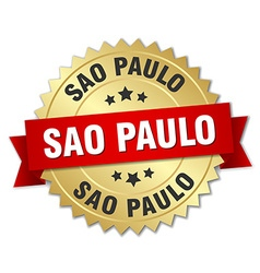 Sao paulo round golden badge with red ribbon vector