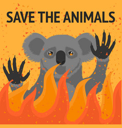 save animals from fire poster vector image