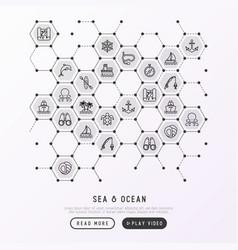 sea and ocean journey concept in honeycombs vector image