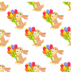 seamless pattern with chocolate bunny and bouquet vector image