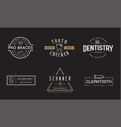 Set dental signs template stomatology graphic vector