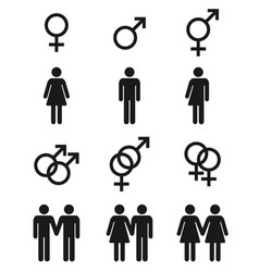 set gender symbols - male female and vector image